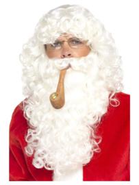 Kerstmannen set | pruik, baard, bril en pijp