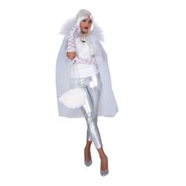 Tule cape halflang | wit