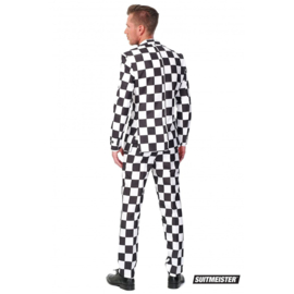 Checked black and white suitmeister kostuum