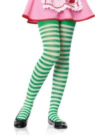 Gestreepte panty groen / wit op=op