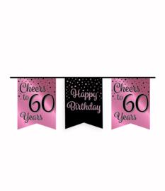 Party vlaggenlijn rose/zwart - 60