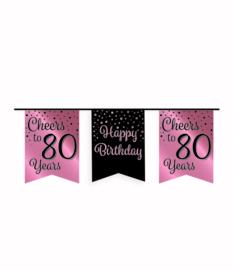 Party vlaggenlijn rose/zwart - 80