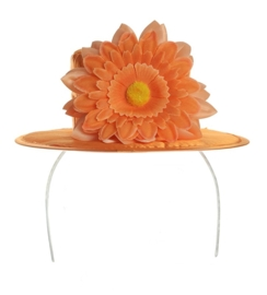 Tiara oranje hoedje bloem