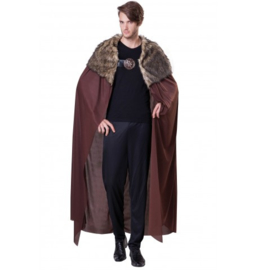 Brown knight cape met bont