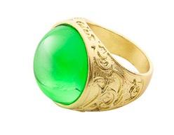 Gouden ring met groene steen edelman