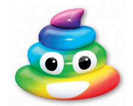 Opblaasbaar luchtbed emo poep rainbow  122x108x22cm