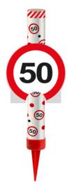 IJsfontein 50 jaar verkeersbord