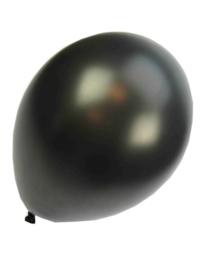 Kwaliteitsballon metallic zwart 100 stuks
