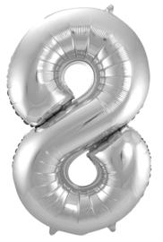 Folieballon 8 zilver