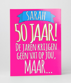 Fun suprise kaart Sarah 50 geen vat