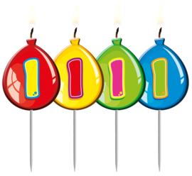 Kaarsjes 1 jaar balloons
