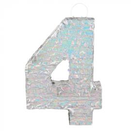 Piñata cijfer '4' holografisch zilver