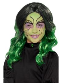 Halloween pruik kinderen zwart groen