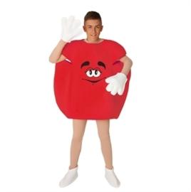 M&M feestoutfit rood volwassenen