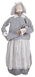 Geanimeerde staande Griezelige oude dame met baby
