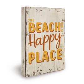Houten beach bord happy place