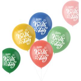 Retro ballonnen happy birthday   33cm / 6 stuks