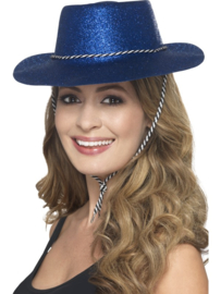 Cowboy glitter hoed blauw
