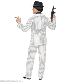Gangster 20's krijtstreep kostuum wit