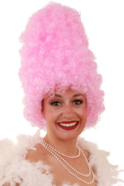 Pruik Curly hoog roze