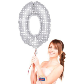Folieballon 0 zilver dots incl.