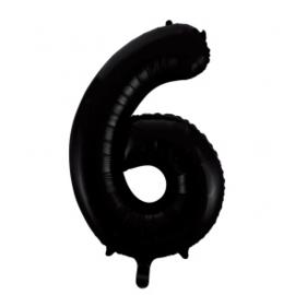Folieballon cijfer zwart 86cm | 6 |
