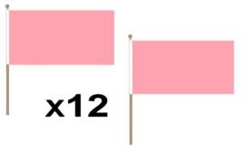 Zwaai vlaggetje roze 12 stuks