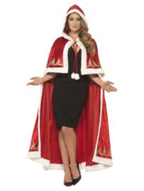 Kerstvrouw cape deluxe met print