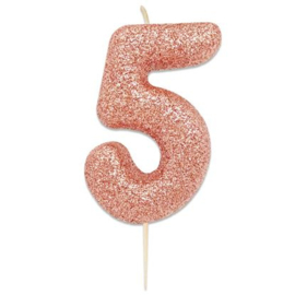 Nummerkaars glitter rosegoud '5'