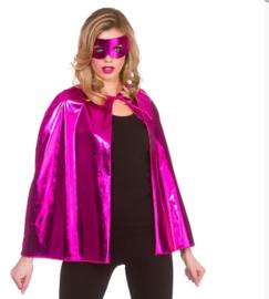 Pink helden metallic cape en masker