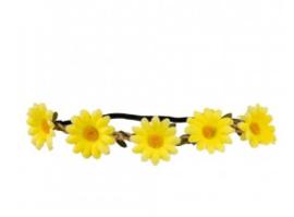 Hoofdband bloemen geel