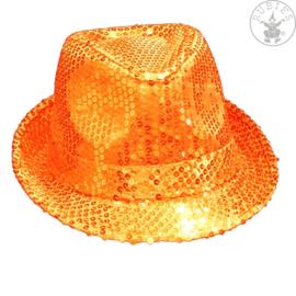 Paillettenhoed oranje | standaard
