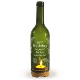 Wine Candle - Verjaardag | Wijnfles decoratie