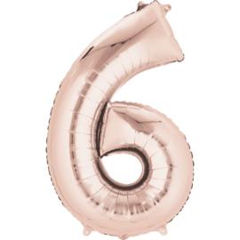 Folieballon 6 rosé goud