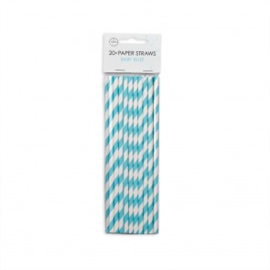 20  Papieren rietjes 6mm x 197mm striped baby blue