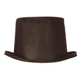 Hoge hoed flocked zwart