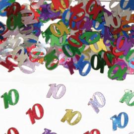 Tafeldecoratie / sier confetti 10 jaar