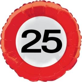 25 jaar folieballon verkeersbord
