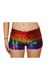 Hotpants pailletten regenboog