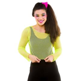 Kort net shirt neon geel
