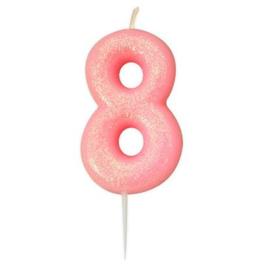 Nummerkaars glitter roze '8'