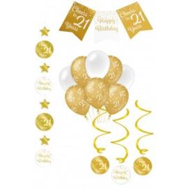 Verjaardag Feestpakket 4 delig goud   21 jaar