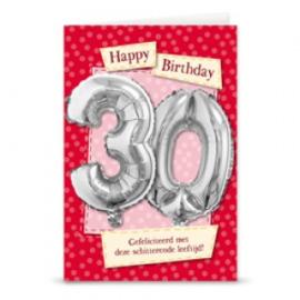 Leeftijd ballonnen kaart 30 jaar