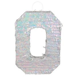 Piñata cijfer '0' holografisch zilver