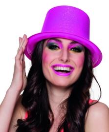 Hoge hoed glitter neon pink
