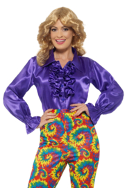 Disco blouse paars blauw