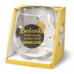 Wijnglas bedankt Proost!