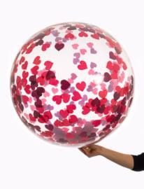 Confetti ballonnen hart rood 45 cm