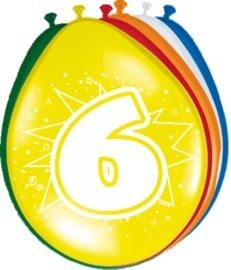 Ballonnen 6 jaar (assorti kleuren)