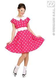 50's jurkje pink en wit